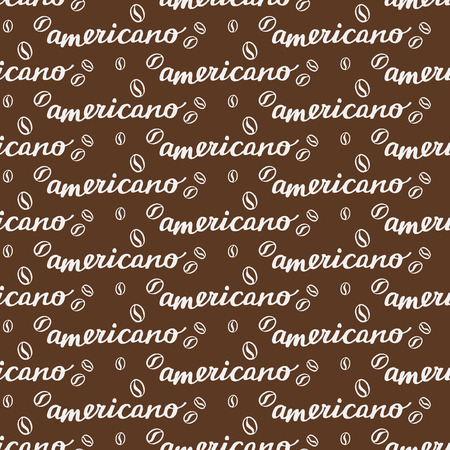naming: Americano. Seamless pattern with hand-drawn calligraphy with coffee drink naming and beans. Doodle drawing. Vector illustration.