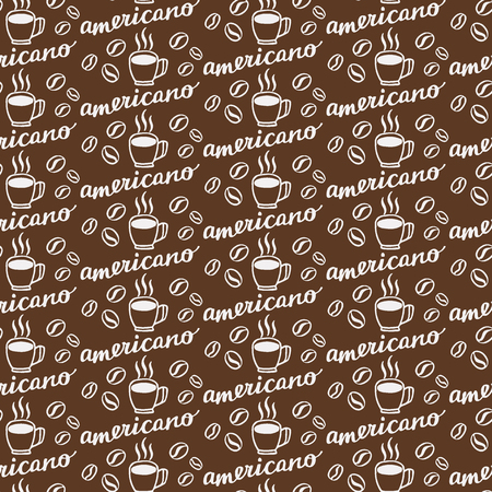 naming: Americano. Seamless pattern with hand-drawn calligraphy with coffee drink naming, cup and beans. Doodle drawing. Vector illustration.