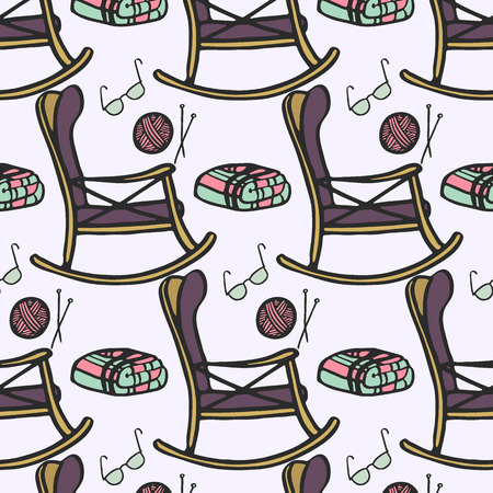 'nursing home': Nursing home. Seamless pattern with hand-drawn cartoon chair for rest, knitting, glasses and plaid. Doodle drawing. Vector illustration.