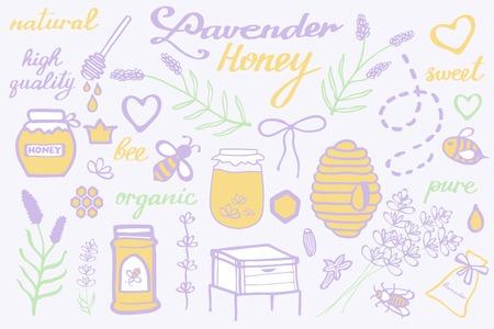 Lavender honey set. Hand-drawn cartoon collection. Doodle drawing. Vector illustration. Illustration