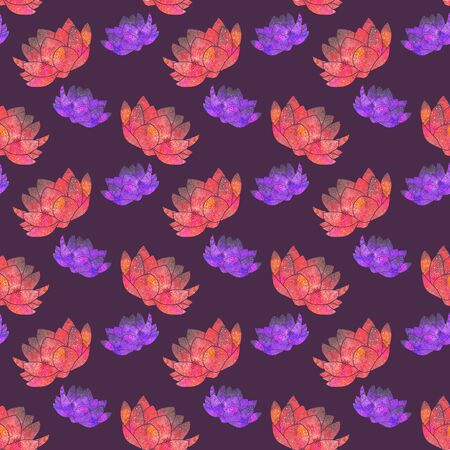 manipura: Red and pink lotus. Seamless pattern with cosmic or galaxy flowers. Hand-drawn original floral background. Real watercolor drawing. Stock Photo