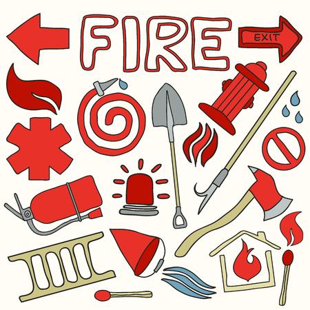 bombero de rojo: conjunto de lucha contra incendios. colecci�n de dibujos animados hecho a mano. doodle. Vectores