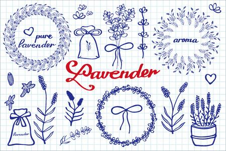 fragrant bouquet: Hand-drawn cartoon lavander collection Illustration