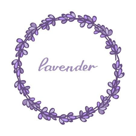fragrant bouquet: Lavender wreath. Hand drawn decorative floral element. doodle drawing.