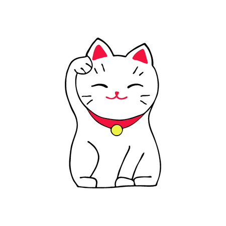 maneki: Maneki-neko cat. Sitting hand drawn lucky white cat.