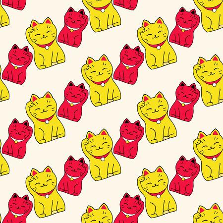 Maneki-neko cat. Seamless pattern with sitting hand drawn lucky cats.  Ilustração