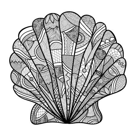 貝殻。手の描かれたシェル - アンチ ストレスは、白い背景で隔離の高詳細で大人のぬりえ