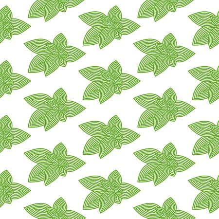 basil herb: Green basil. Seamless pattern with spiral herb.
