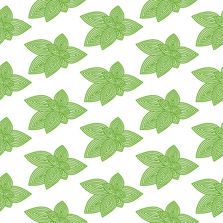Green basil. Seamless pattern with spiral herb.