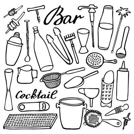 Bar equipment set. Hand-drawn cartoon collection of bartender stuff. Doodle drawing. Vector illustration Illustration