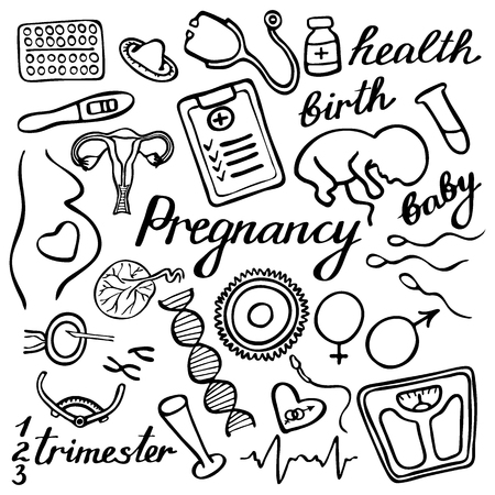 Pregnancy set. Hand-drawn cartoon collection. Doodle drawing. Vector illustration
