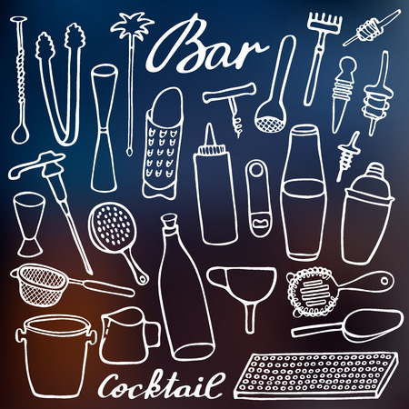 strainer: Bar equipment set. Hand-drawn cartoon collection of bartender stuff on the blurred background. Doodle drawing. Vector illustration