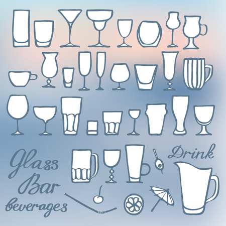 champagne flute: Differernt glasses set. Hand-drawn cartoon collection with many kinds of glass for drinks on the blurred background. Doodle drawing.  Vector illustration Illustration