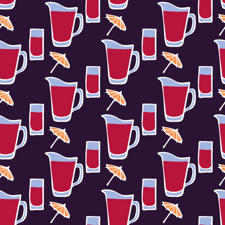 sangria: Cocktail. Seamless pattern with glass, umbrella and jug- fruit punch. Doodle drawing. Vector illustration - swatch inside Illustration