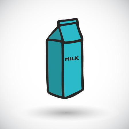 Paquete de esbozo leche. Icono de los alimentos de dibujos animados hecho a mano. doodle. Ilustración del vector.