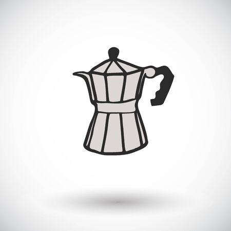 gazer: Moka pot sketch. Hand-drawn cartoon coffee maker icon. Doodle drawing. Vector illustration.