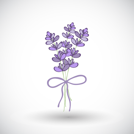 grass weave: Lavender bouquet sketch. Hand-drawn cartoon flower icon. Doodle drawing. Vector illustration. Illustration