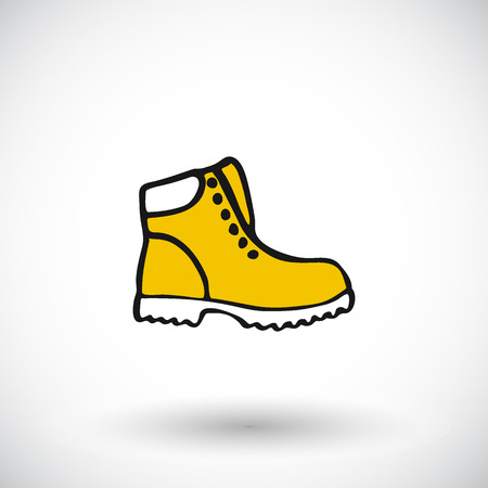 woodsman: Shoe sketch. Hand-drawn cartoon apparel icon, lumberjack shoes. Doodle drawing. Vector illustration.