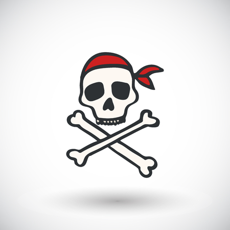 jolly: Skull and bones - Jolly roger sketch. Hand-drawn cartoon pirate icon. Doodle drawing. Vector illustration