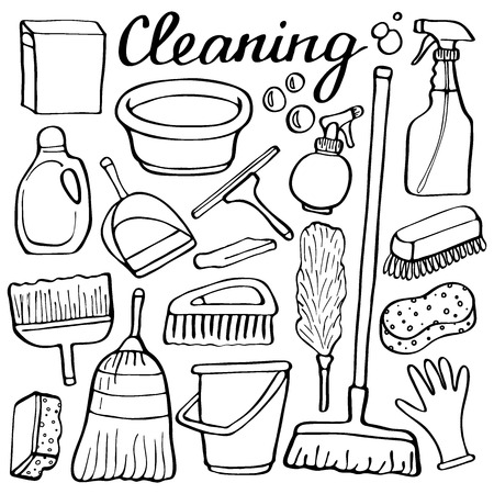 hand washing: Cleaning tools set. Hand-drawn cartoon collection of house cleaning stuff. Doodle drawing. Vector illustration Illustration