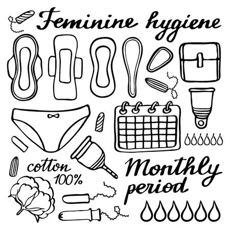 sanitary napkin: Feminine hygiene set. Hand-drawn cartoon collection of monthly period stuff. Doodle drawing. Vector illustration