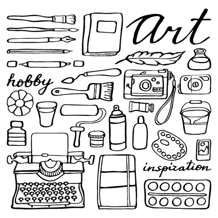 pen icon: Art supplies set. Hand-drawn cartoon collection of art tools. Doodle drawing. Vector illustration