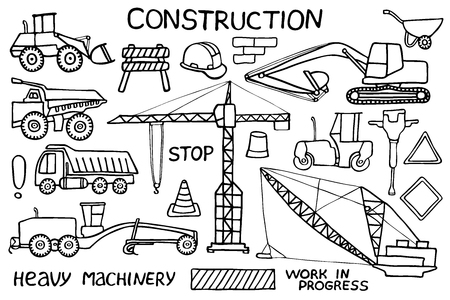 maquinaria pesada: Construcción y maquinaria pesada boceto. Conjunto del icono de la industria de dibujos animados hecho a mano. doodle. Ilustración del vector. Vectores