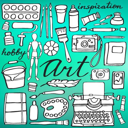 art supplies: Art supplies set. Hand-drawn cartoon collection of art tools. Doodle drawing. Vector illustration