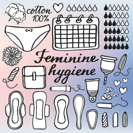 menstrual: Feminine hygiene set. Hand-drawn cartoon collection - sanitary napkin, tampon, menstrual cup, panties, monthly calendar. Doodle drawing. Vector illustration