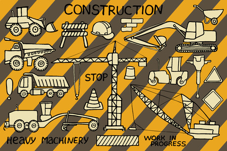 heavy machinery: Construction and heavy machinery sketch. Hand-drawn cartoon industry icon set. Doodle drawing. Vector illustration.