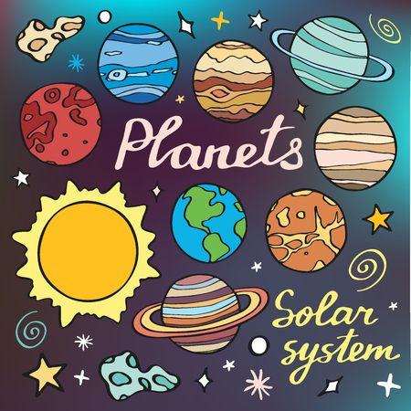 planets: Planets set. Hand-drawn cartoon collection of solar system planets. Doodle drawing. Vector illustration