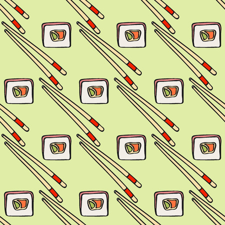 omelet: Futomaki sushi sketch and chopsticks. Seamless pattern with hand-drawn cartoon japanese food icon - sushi with avocado, omelet, fish. Doodle drawing. Vector illustration - swatch inside Illustration