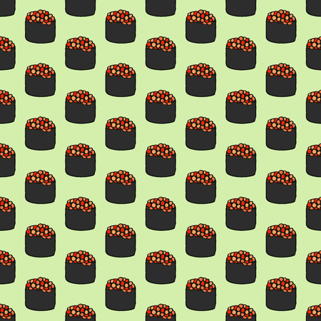 caviar: Gunkanmaki sushi sketch. Seamless pattern with hand-drawn cartoon japanese food icon - sushi with caviar. Doodle drawing. Vector illustration - swatch inside