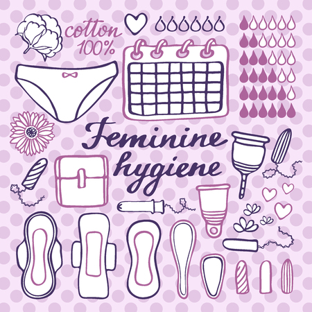 menstrual: Feminine hygiene set. Hand-drawn cartoon collection of monthly period stuff - sanitary napkin, tampon, menstrual cup, panties, monthly calendar. Doodle drawing. Vector illustration