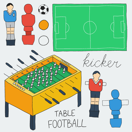 desk toy: Table football set. Hand-drawn cartoon collection of kicker icons - player, game table, field, ball. Doodle drawing. Vector illustration