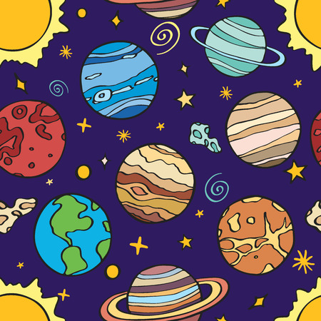 neptune: Solar system planets. Seamless pattern with hand-drawn cartoon astro collection - sun, earth, mars, venus, mercury, neptune, uranus. Doodle drawing. Vector illustration - swatch inside Illustration