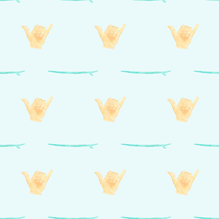loose: Hang loose or shaka. Seamless vector pattern with hand gesture on surfing theme. Hand-drawn background. Real watercolor drawing.