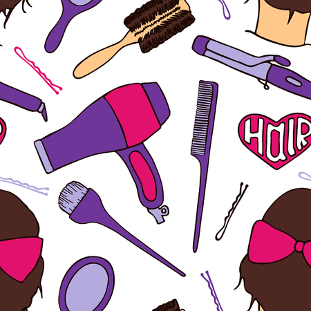 beautician: Hairdresser tools. Seamless pattern with beautician supplies - blowdryer, curler, brush, mirror, hairpin. Doodle drawing. Vector illustration - swatch inside