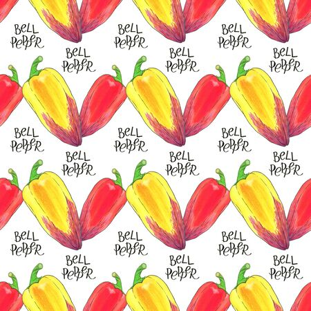 caligraphy: Bell pepper. Seamless pattern with hand-drawn vegetable  - paprika or sweet pepper.  Real watercolor drawing.