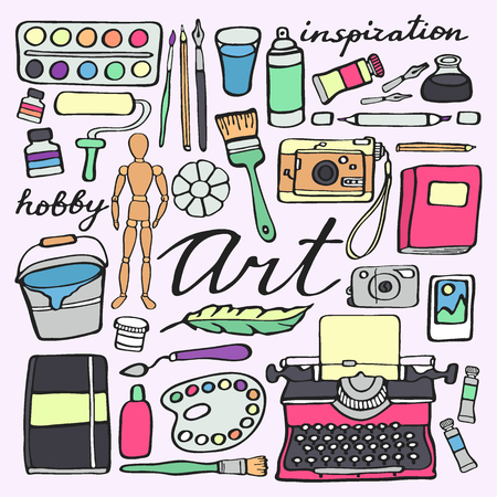 art supplies: Art supplies set. Hand-drawn cartoon collection of art tools - painting, calligraphy, drawing, writing hobby supplies. Doodle drawing. Vector illustration