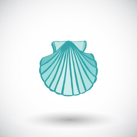 scallop shell: Scallop shell sketch. Hand-drawn sea or ocean life cartoon icon. Doodle drawing. Vector illustration.