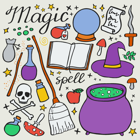 magic cauldron: Magic set. Hand-drawn cartoon collection of witch attributes - broom, cauldron, potion, hat, book, spell, skeleton. Doodle drawing. Vector illustration Illustration