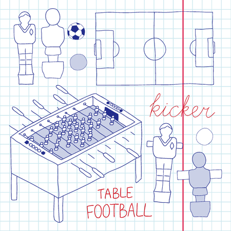 atack: Table football set. Hand-drawn cartoon collection of kicker icons - player, game table, field, ball. Doodle drawing. Vector illustration