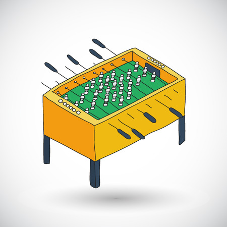 tabletop: Table football sketch. Hand-drawn hobby or leisure icon. Doodle drawing. Vector illustration