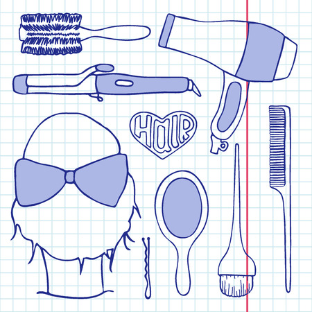 hairpin: Hairdressing tools set. Hand-drawn cartoon collection of hair styling stuff -  comb, hairbrush, hairpin, mirror, dryer, mirror, head. Doodle pen drawing on the notebook page. Vector illustration