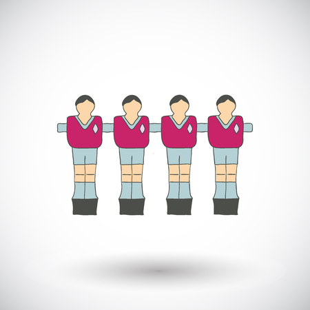 Old fashioned table football players. Hand-drawn cartoon icon of foosball player. Doodle drawing. Vector illustration.