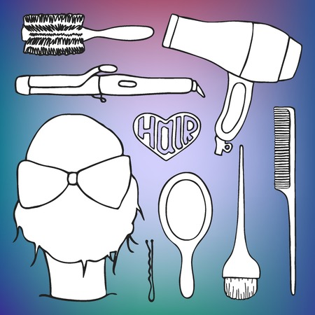 styling: Hairdressing tools set with pattern swatch. Hand-drawn cartoon collection of hair styling stuff -  comb, hairbrush, hairpin, mirror, dryer, mirror, head. Doodle drawing. Vector illustration