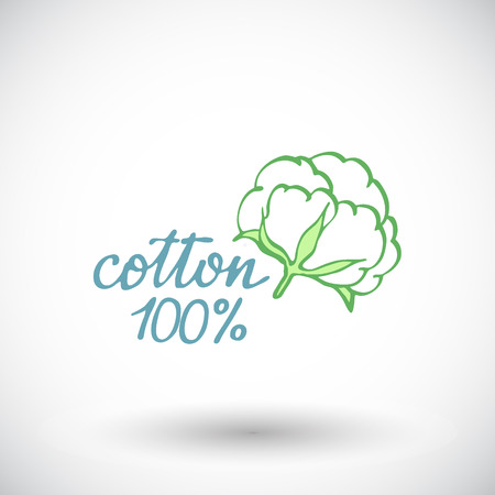 boll: Cotton flower sketch. Hand-drawn organic cotton icon with sigh 100 per cent cotton. Doodle drawing. Vector illustration