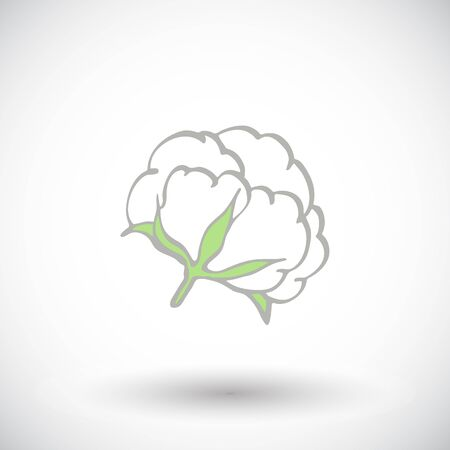 boll: Cotton flower. Hand-drawn organic cotton icon. Doodle drawing. Vector illustration