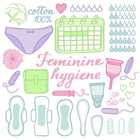 女性用衛生セット。各月の期間のもの - 生理用ナプキン、タンポン、月経カップ、パンティー、月間カレンダーの手描き漫画コレクション。落書き  イラスト・ベクター素材
